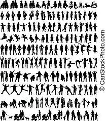 gens, silhouettes, mélange, vecteur, travail