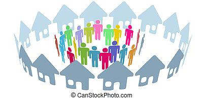 gens, social, voisin, rencontrer, maison, anneau