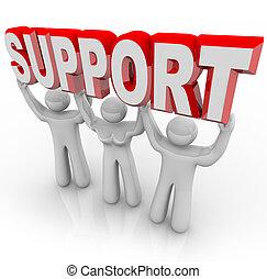 gens, soutien, temps, fardeau, ton, levage, difficile