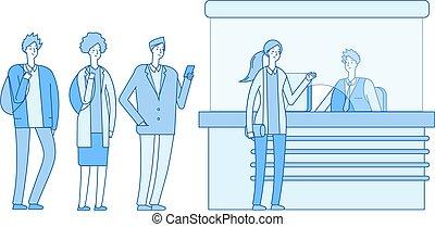 gens, station., espèces, fenêtre., registre, illustration, isolé, touristes, bureau, attente, vecteur, ligne, boîte, file, plat