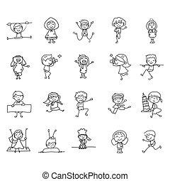 gens, style, résumé, dessin, gosses, caractère, heureux, allumette, dessin animé, main, crosse, griffonnage, ensemble