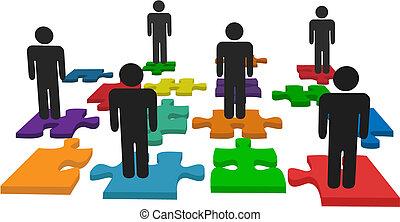 gens, symbole, morceaux denteux, stand, équipe, puzzle