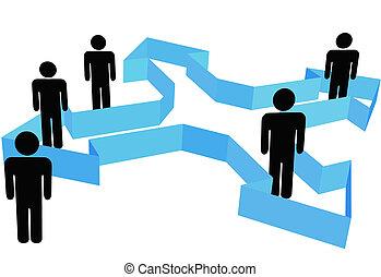gens, symbole, point, flèches, organisation, directions, nouveau