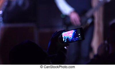 gens, téléphone, silhouettes, 4k, pousses, étape