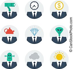 gens, techniques, communication, caractère, avatars, concept