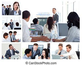gens, technologie, business, utilisation, collage
