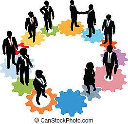 gens, technologie, engrenages, equipe affaires