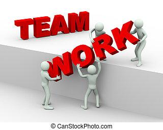 gens, travail, -, 3d, équipe, concept