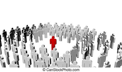 gens, une, direction, center., icône, blanc rouge