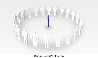 gens, une, vert, cercle, direction, animation, business, blanc, center., icône, concept