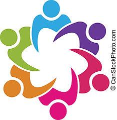gens, union, vecteur, collaboration, 6, logo