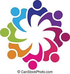 gens, union, vecteur, collaboration, 8, logo