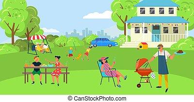 gens, vecteur, barbécue famille, joyeux, conception, barbecue, viande, cuisine, fête, dessin animé, illustration., style, extérieur, arrière-cour, vacances