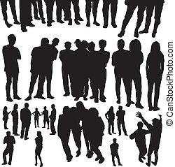gens, vecteur, bondé, silhouette