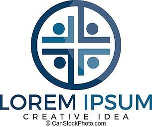 gens, vecteur, conception, église, logo, template.