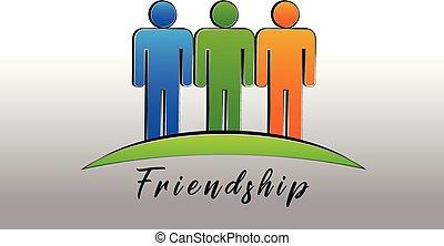 gens, vecteur, logo, icône, amitié, heureux