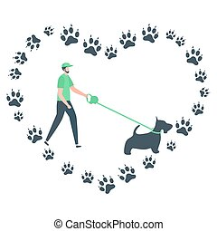 gens, vecteur, pistes, promenade, chien, canin, actif