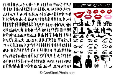 gens., vecteur, silhouettes, illustration, 360