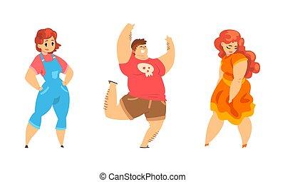 gens, vecteur, taille, porter, désinvolte, illustration, ensemble, dodu, dessin animé, femme, concept, vêtements, mâle, plus, caractères, corps, gai, positif