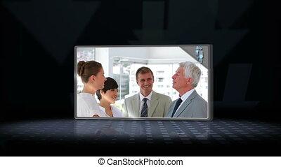 gens, vidéo, business, parler