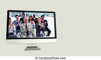 gens, vidéos, business, comp