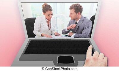 gens, vidéos, business, conversation