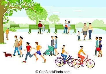 gens ville, park.eps, loisir