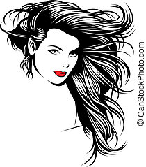gentil, girl, mon, fantasme, cheveux