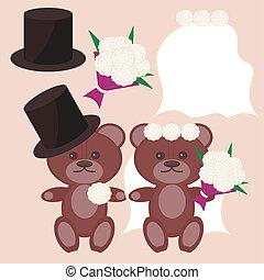 gentil, ours, marié, mariée