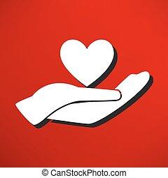 gentillesse, mains, heart., icône, charité