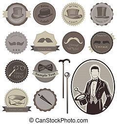 gentlemen's, set-, étiquettes, -, accessoires, élevé, vecteur, qualité