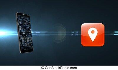 geolocation, recherche, téléphone., désiré, par, sentier, gps., gps