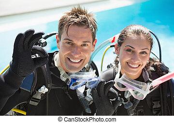 ges, piscine, couple, scaphandre, natation, formation, projection, sourire, ok