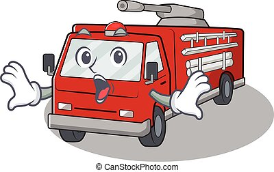 geste, surpris, camion, caractère, conception, dessin animé, brûler