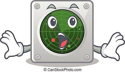 geste, surpris, caractère, conception, dessin animé, radar