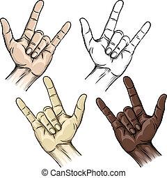 geste, unité, cornes