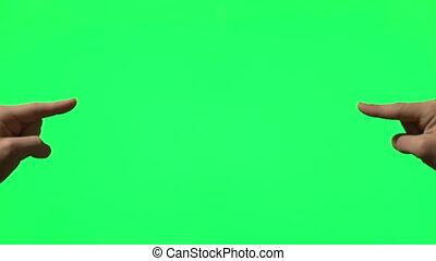 gestes, écran, mâle, vert, main