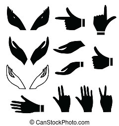 gestes, divers, main