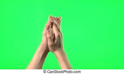 gestes, -, main, femme, écran, vert