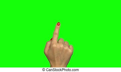 gestes, touchscreen, vert, écran, main
