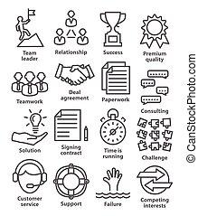 gestion, 10., icones affaires, ligne, style., meute