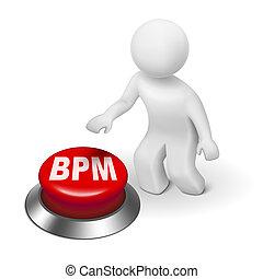gestion, business, processus, bouton, bpm, homme, 3d