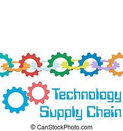 gestion, chaîne, fourniture, technologie, engrenages, frontière