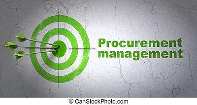 gestion, cible, business, mur, procurement, fond, concept: