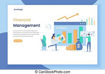 gestion, concept, moderne, plat, financier, conception