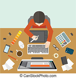 gestion, concepteur, lieu travail