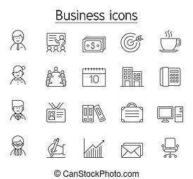 gestion, ensemble, mince, icône, ligne, style, business
