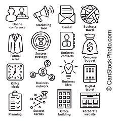 gestion, icones affaires, 12., ligne, style., meute