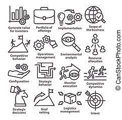 gestion, icones affaires, ligne, meute, style., 15.