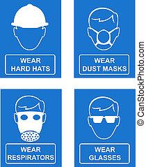 gestion, mandatory, site, sécurité, lieu travail, signes